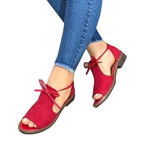 Syfinee Women's Comfy Peep Toe Flat Heel Sandals, Rubber Sole Anti-Slip, Matte Fabric, Front Bowknot Design, 2021 Fashion Summer Sandals for Women