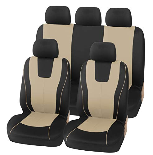 Protective Car Seat Covers Protectors Fabric Universal Set,Beige