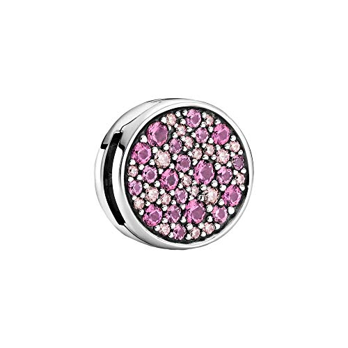 Pandora Sterling Silver Pink Pave Clip with Cubic Zirconia Crystals Collection Reflections 799362C01