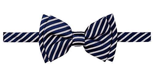 Retreez Modern Stripe Woven Microfiber Pre-tied Boy's Bow Tie - Navy Blue with Silver Stripe - 4-7 years