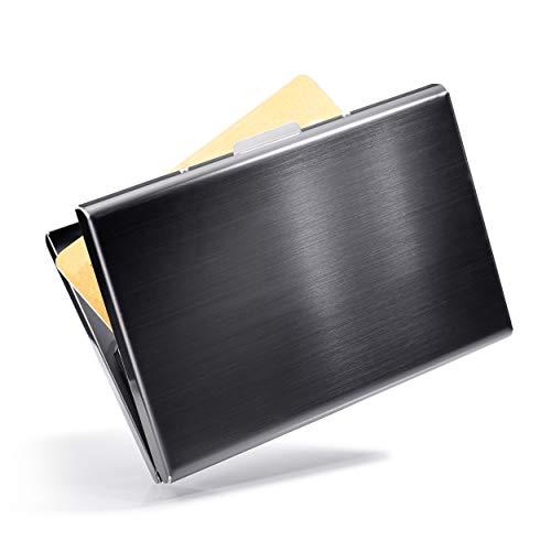 VALLET® Kartenetui Kreditkarten Etuis für Damen Herren aus gebürstetem Edelstahl - Visitenkarten Etuis 6 Fächer für bis zu 10 Karten - EC Karten Hülle RFID NFC Schutz Kreditkartenetui - schwarz