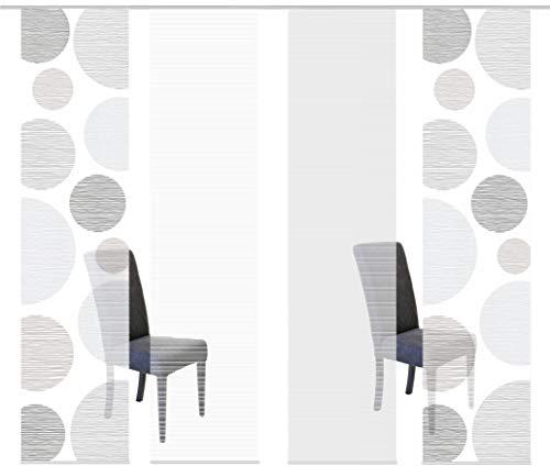 Vision S 94553 | 4er-Set Schiebegardinen Borden | halb-transparenter Stoff in Bambus-Optik | 4X 260x60 cm | Farbe: (grau)