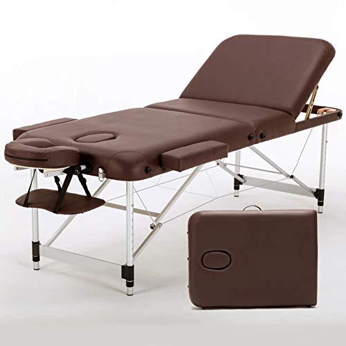 Thole Kopfstütze Massageliege Mobile Massagetisch Massagebank Massagestuhl - Aluminium Deluxe 3 Zonen klappbar Höhenverstellbare mit Tragetasche Einfache Installation 185cm*700cm,Brown