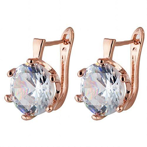Pendientes de tendencia de moda Pendientes de diamantes de imitación de oro rosa Pendientes de aleación hermosa Pendientes europeos y americanos de mujer