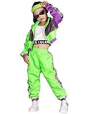 Conjunto de Ropa de Hip Hop para niñas de 3 Piezas, Traje de Baile Callejero para niños, Chaleco Recortado, Chaqueta Verde Fluorescente y Pantalones de chándal