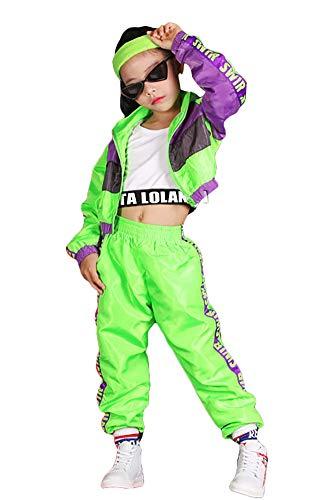LOLANTA Conjunto de ropa de hip hop para niñas de 3 piezas, traje de baile callejero para niños, chaleco recortado, chaqueta verde fluorescente y pantalones de chándal (verde, 13-15 años)