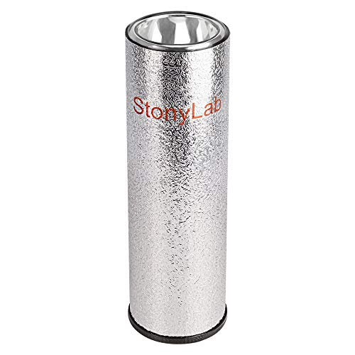 stonylab Frascos Dewar, Matraz Dewar de Vidrio Borosilicato de Forma Cilíndrica con Basa de Aluminio, Dewar Flask Profundidad Interior de 300 mm y Diámetro Interior de 75 mm para Laboratorio - 1L
