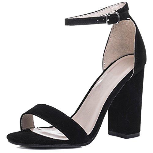 Peep-Toe Blockabsatz Sandalen Schuhe Pumps Synthetik Wildleder Gr 38