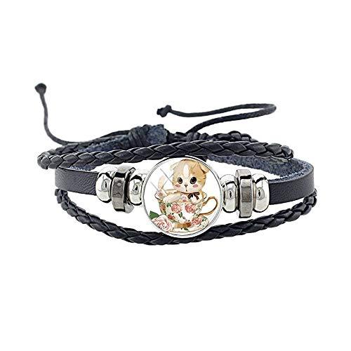 ZWXDMY Leder-Punk-Armband,Mann Leder Kaffee Tasse Katze Schmuck Armreifen Gotischen Personalisierte Multi Seillage Wrap Bracelets Unisex Damen Charme Bracelets Fashion Verstellbare Armband