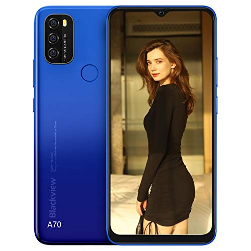 Smartphone Blackview A70 Android 11, 6,517 Zoll Display, 5380 mAh, Octa-Core-Akku, 3 GB RAM + 32 GB ROM, 13MP Kamera,Dual SIM/Face ID/Fingerabdruck,Handy in Blau