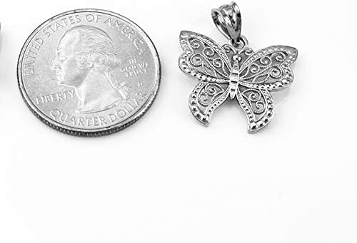 Sterling Silver Filigree Butterfly Charm Necklace