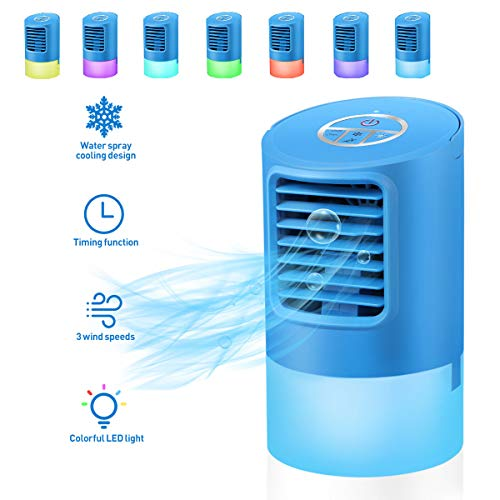 Portable Air Conditioners Fan, VOSAREA Personal Air Cooler Mini Space Evaporative Air Cooler with 3 Wind Speeds Small Desktop Cooling Fan Quiet Air Humidifier Compact Air Cooler for Room, Home, Office
