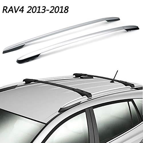 Areyourshop - Barras laterales de aluminio para techo de Toyota RAV4 2013-2018, color plateado.