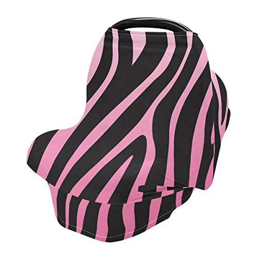 Nursing Cover Breastfeeding Scarf Pink Zebra Print - Baby Car Seat Covers, Infant Stroller Cover, Carseat Canopy for Girls and Boys (be12a)