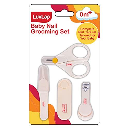 LuvLap Baby Grooming Scissors & Nail Clipper Set/Kit, Manicure Set, 4pcs, White, 0m+