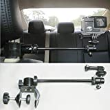 3in1 Universal Car Headrest Mount Holder for All Camcorder/Action Camera/Smartphone with Dual Adjustable Positions and 360° Rotation, for car Shooting vlogging Video Recording