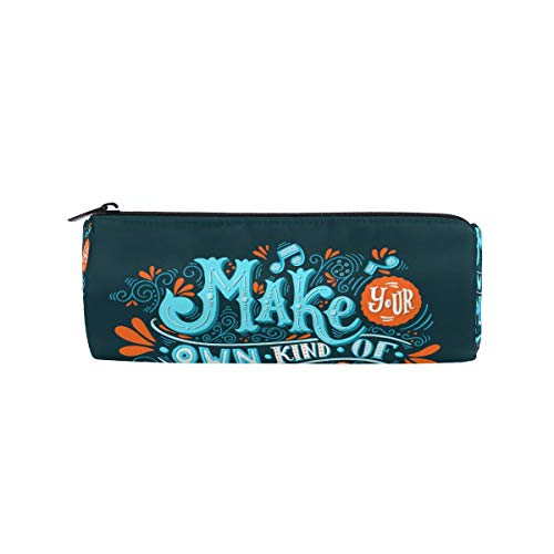Pencil Bag Pen Case Pouch Make Your Music Makeup Cosmetic Round for Girls Boys Travel School