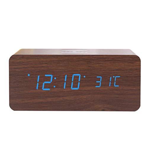 ibasenice Reloj de Carga Inalámbrico- Reloj Electrónico Despertador Digital Relojes Eléctricos Hechos en Madera para Dormitorio Sala de Estar Niños Cabecera (Marrón)