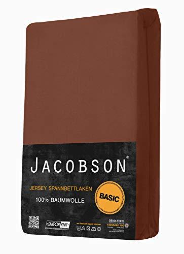 Jacobson Jersey Spannbettlaken Spannbetttuch Baumwolle Bettlaken (90×200-100×200 cm, Schokobraun) - 2