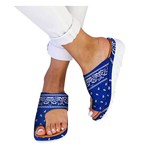 HROIJSL damen hausschuhe Frauen Open Toe Flache Pantoffeln Anti Rutsch Dusche Badeschuhe Hallux Valgus Unterstützung Plattform Sandale Schuhe Für Bunion Correct Modern Sommer Freizeit (Blue, 37 EU)