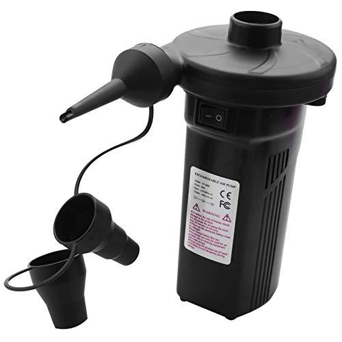 Senmubery EU Plug, Bomba De Aire Eléctrica Recargable Bomba Inflable De Níquel-Cadmio Bomba De Aire Inflable Desinflado para Aire Libre Kayak Cama De Aire Barco Pesca-Negro