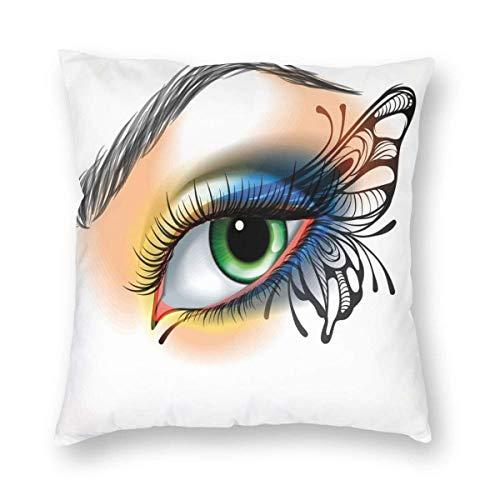 Fantasía de ojo de mujer maquillaje mariposa alas colores vibrantes, pestañas de aspecto femenino, bonitas fundas de almohada 3D para decoración de sofá, 55 x 55 cm, 3 unidades