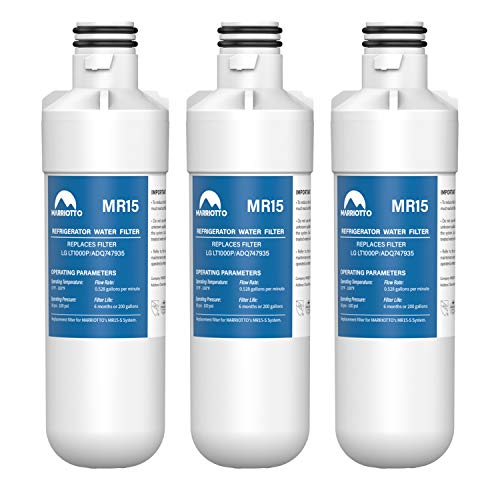 MARRIOTTO LT1000P Refrigerator Water Filter, Compatible with LG LT1000P, LT1000PC, LT-1000PC, MDJ64844601, ADQ74793501, ADQ74793502, Pack of 3