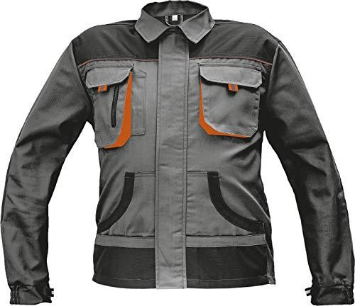 Stenso Des-Emerton® - Chaqueta de Trabajo Multiusos para Hombre - Codos Reforzados - Gris/Negro/Naranja - 56