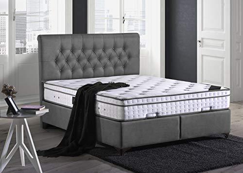Cama con somier Paris Chester con canapé de tela, cama doble para hotel, superficie de descanso 180 x 200 cm, color antracita