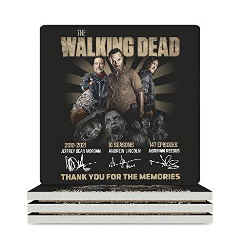WellWellWell Posavasos de cerámica con la firma de Walking Dead, con base de corcho, 9,4 x 9,4 cm, color blanco, 6 unidades