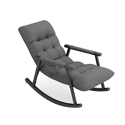 Contemporary Patio Rocking Sling Chair Comfortable Rocker For Living Room Outdoor & Indoor Chair With Side Pocket Heavy Duty Steel Frame