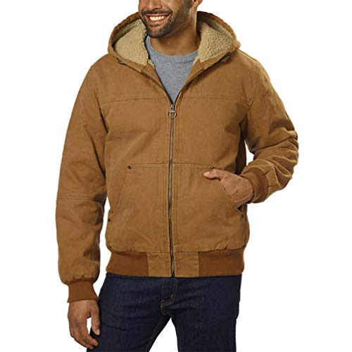 G.H. Bass & Co Men's Canvas Hooded Bomber Jacket; Brown (Large)