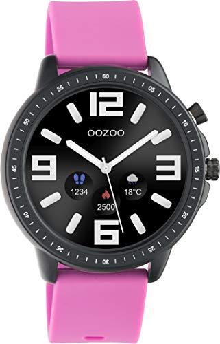 Oozoo Reloj inteligente unisex de fitness de 45 mm con correa de silicona de 20 mm para hombre y mujer, con podómetro, rastreador de fitness, reloj deportivo para iOS y Android