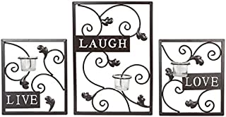 Hosley Set of Three Dark Brown Iron T-Lite Wall Sconce - Laugh, Love, Live; Hand made by Artisans. Ideal Gift for Wedding, Spa, Aromatherapy, Tea light Votive Candle Gardens O3