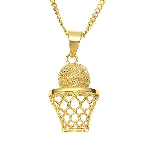 WOOKO Stainless Steel Pendant Necklace Hiphop Color Retaining Stainless Steel Basketballpendant Vacuum Plating Jewelry-Without Drill Birthday Gifts for he, Gift Package
