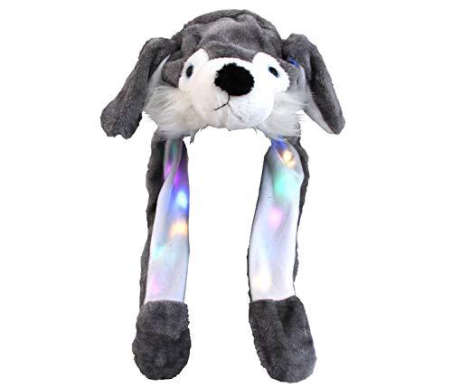 Shirt-Panda Plüsch Wackelohr Mütze mit LED · Spielzeug Tiere Hase Einhorn Ohren Kaninchen Katze Tiger lustige Hüte Fun Tiermütze Happy Ear · Wolf Grau LED