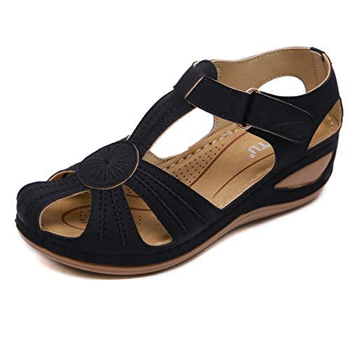 clasificación y comparación Nuevas sandalias de línea de coche retro para mujer, zapatos de playa de tacón antideslizante, playa de vacaciones … para casa