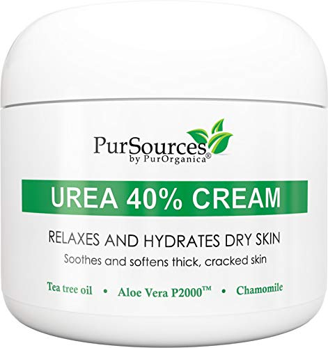 PurSources Urea 40% Foot Cream - No Pumice Stone - Best Callus Remover - Moisturizes and Rehydrates Feet, Knees & Elbows - For Thick, Cracked, Rough, Dead & Dry Skin - 4 oz - 100% Money Back Guarantee