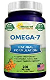 Purified Omega 7 Fatty Acids - 200 Capsules - from Natural Sea Buckthorn, XL Vitamin Supplement, No Fish Burp, Vegan Omega-7 Palmitoleic Acid, Compare to Omega 3 6 9 for Complete Weight Loss Results