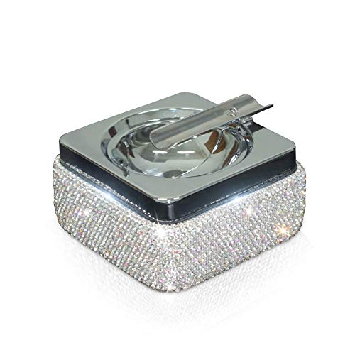 Ashtray,eing Stainless Steel Ashtray with Lid and Bling Crystal Diamonds,Cigarette Ashtray for Indoor or Outdoor Use,Ash Holder for Smokers,Desktop Smoking Ash Tray for Home Office Decoration,Silver