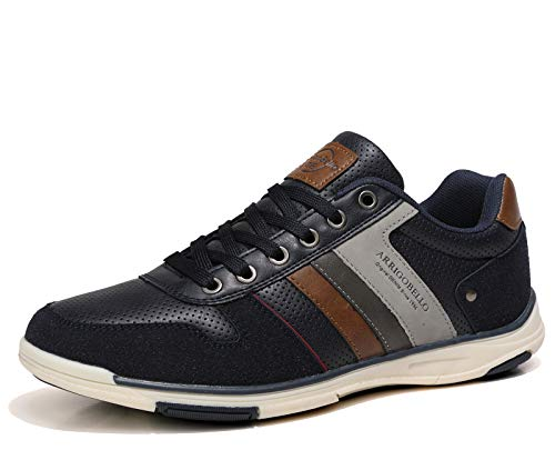AX BOXING Mens Fashion Sneakers Low Top Casual Shoes Leather Breathable Comfortable Walking...