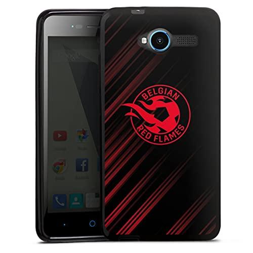 DeinDesign Silikon Hülle kompatibel mit ZTE Blade L3 Hülle schwarz Handyhülle Rote Teufel Offizielles Lizenzprodukt Fußball