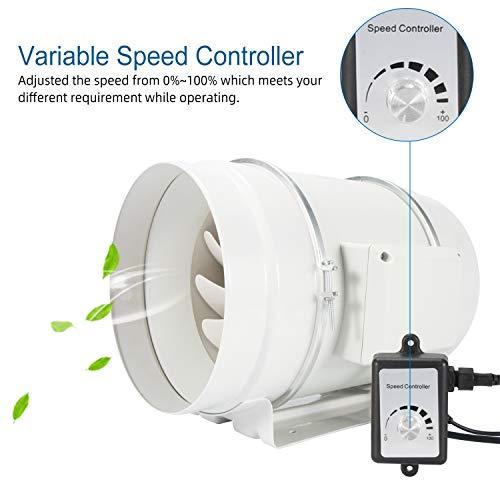 Hon&Guan Rohrventilator Kanalventilator 150mm mit Variabler Geschwindigkeitskontrolle, EC-Motor, 110-240 V, Abluftventilator für Badezimmer, Wachstumszelte, Hydrokultur (HF-PE 150mm)