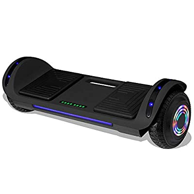 "Longtime 6.5"" Chrome Metallic Hoverboard Self Balancing Scooter with Speaker LED Lights Flashing Wheels (Shadow Black)"