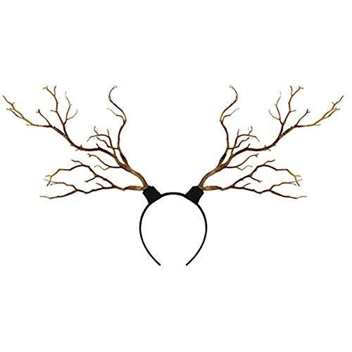 Qinlee Geweih Stirnband mit Baum für Damen Herren Rentier Geweih Stirnband Schmetterling Kopfschmuck Halloween Kostüme Halloween Party Decor Foto Prop(Kaffee)