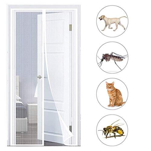 AIAIⓇ Mosquitera balcón Puerta mosquitera protección contra Insectos adsorción magnética para balcón Puerta Sala terraza Puerta, Blanco