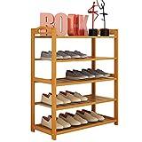 LIZANAN Organizador Bastidores de Zapatos de 5 gradas Zapatero Zapato del Organizador del almacenaje Gabinete Torre 27,5' x 9,8' x 34.2' Ahorro de Espacio Fácil Ensamble (Color: Natural, tamaño: 70 *