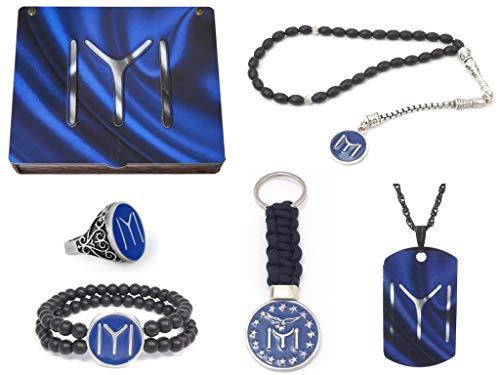 Remi Bijou - Confezione regalo fatta a mano 'Göktürk', per uomo, con accendino, anello, bracciale, perline di preghiera – Tesbih e portachiavi