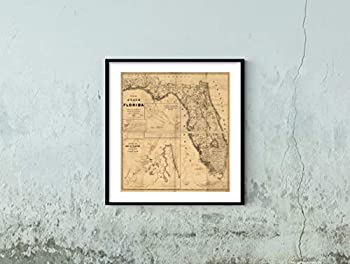 1846 Map of The State of Florida|Historic Vintage Antique Wall Map|22 x24  Ready to Frame|Historic Vintage Antique Wall Map|22 x24  Ready to Frame