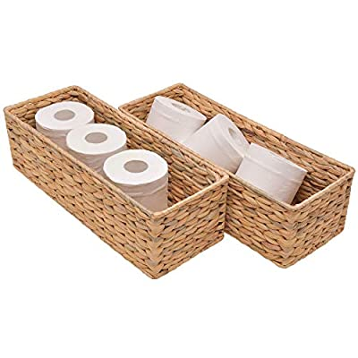"StorageWorks Water Hyacinth Toilet Paper Basket, Woven Storage Basket for Toilet Tank Top, Rattique Tank Topper in Bathroom,16.9"" x 6.5"" x 5.1"", 2-Pack"